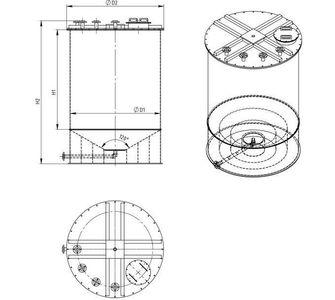 Реактор цилиндрический из полипропилена без мешалки, конусное дно плоская крыша, под плотность среды не более 1300 кг/м3:, объем 12,5