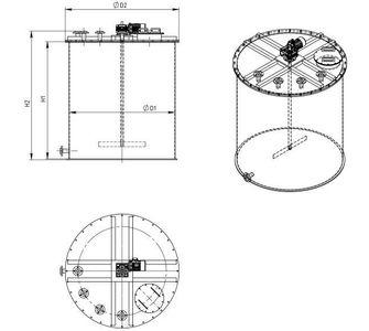 Реактор цилиндрический из полипропилена с мешалкой, плоское дно плоская крыша, под плотность среды не более 1300 кг/м3:, объем 1
