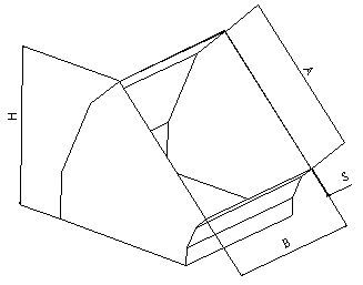 Отвод 45 прямоугольный без соединения из полипропилена, размер сечения 150х150