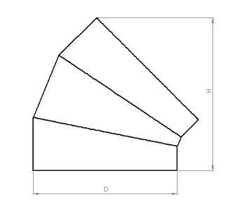 Отвод 45 круглый без соединения из полипропилена, диаметр 225