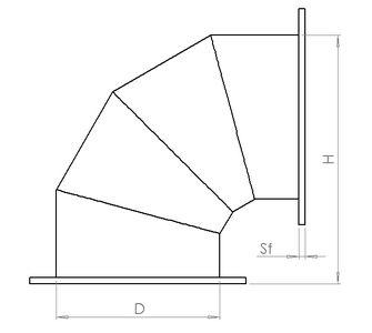 Отвод 90 круглый с фланцевым соединением из полипропилена, диаметр 225