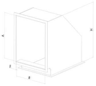 Отвод 90 прямоугольный  с фланцевым соединением из полипропилена, размер сечения 300х200