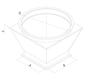 Переход с круг. на прям. с фланцевым соединением из полипропилена, диаметр 400