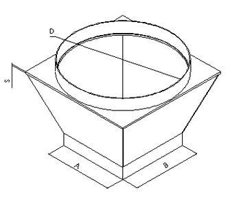 Переход с круг. на прям. без соединения из полипропилена, диаметр 710