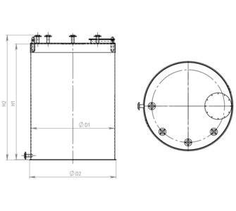 Емкость цилиндрическая из полипропилена, плоское дно плоская крыша, под плотность среды не более 1000 кг/м3:, объем 0,63