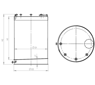 Емкость цилиндрическая  из полипропилена, наклонное дно плоская крыша, под плотность среды не более 1200 кг/м3:, объем 1,6