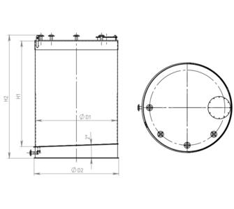 Емкость цилиндрическая  из полипропилена, наклонное дно плоская крыша, под плотность среды не более 1000 кг/м3:, объем 10