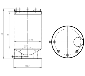 Емкость цилиндрическая  из полипропилена, конусное дно плоская крыша, под плотность среды не более 1000 кг/м3:, объем 40