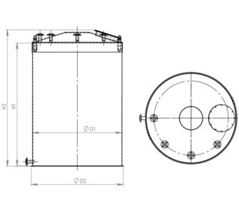 Емкость цилиндрическая из полипропилена, плоское дно конусная крыша, под плотность среды не более 1200 кг/м3:, объем 4
