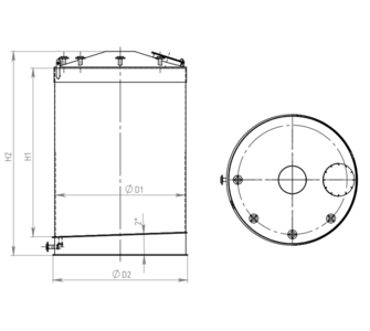 Емкость цилиндрическая из полипропилена, наклонное дно конусная крыша, под плотность среды не более 1200 кг/м3:, объем 32