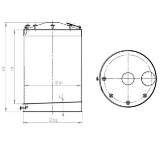 Емкость цилиндрическая из полипропилена, наклонное дно конусная крыша, под плотность среды не более 1000 кг/м3:, объем 25