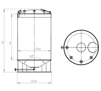 Емкость цилиндрическая из полипропилена, конусное дно конусная крыша, под плотность среды не более 1200 кг/м3:, объем 40