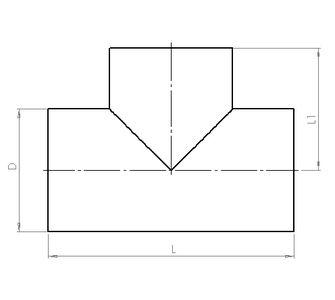 Тройник 90 круглый без соединения из полипропилена, диаметр 1300