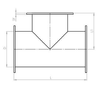 Тройник 90 круглый с фланцевым соединением из полипропилена, диаметр 250