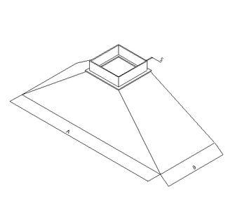 Зонт вытяжной прямоугольный без соединения из полипропилена, размер сечения 200х200
