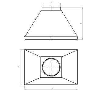 Зонт вытяжной круглый без соединения из полиэтилена, диаметр 200
