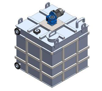 Реактор прямоугольный из полипропилена с мешалкой, плоское дно, под плотность среды не более 1300 кг/м3:, объем 1