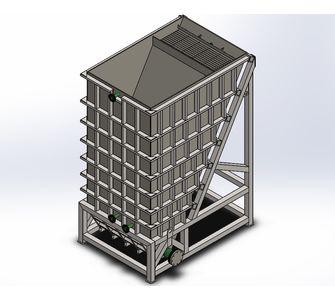 Отстойник тонкослойный (пластинчатый сгуститель) из полипропилена, с приварными модулями:,  63