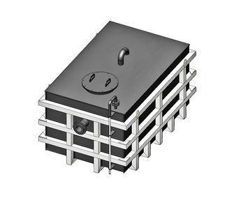 Емкость прямоугольная  из полипропилена в стальном каркасе, под плотность среды не более 1200 кг/м3:, объем 1
