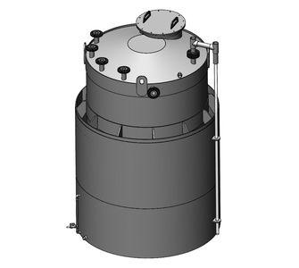Емкость двустенная цилиндрическая  из полипропилена, под плотность среды не более 1200 кг/м3:, объем 8