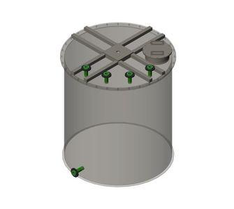 Реактор цилиндрический из полипропилена без мешалки, плоское дно плоская крыша, под плотность среды не более 1300 кг/м3:, объем 12,5