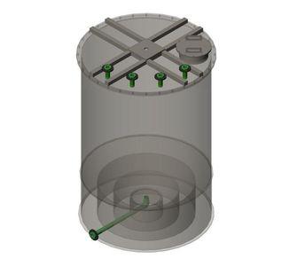 Реактор цилиндрический из полипропилена без мешалки, конусное дно плоская крыша, под плотность среды не более 1300 кг/м3:, объем 1
