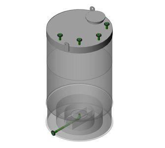 Емкость цилиндрическая  из полипропилена, конусное дно плоская крыша, под плотность среды не более 1200 кг/м3:, объем 0,63