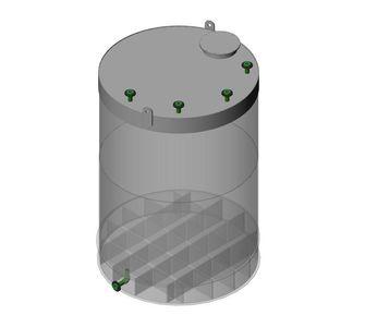 Емкость цилиндрическая  из полипропилена, наклонное дно плоская крыша, под плотность среды не более 1200 кг/м3:, объем 25