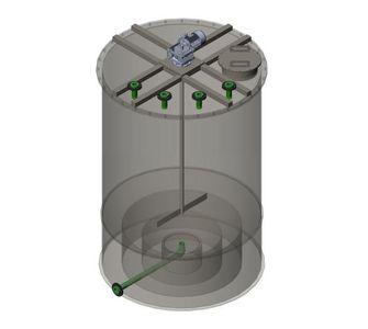 Реактор цилиндрический из полипропилена с мешалкой, конусное дно плоская крыша, под плотность среды не более 1300 кг/м3:, объем 0,25