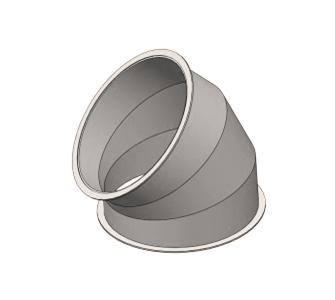 Отвод 45 круглый с фланцевым соединением из полипропилена, диаметр 1000