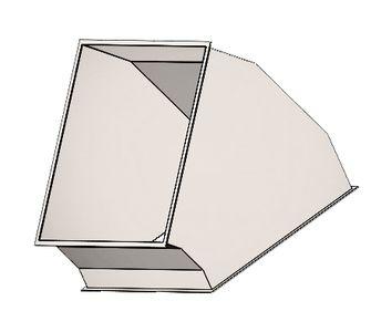 Отвод 45 прямоугольный  с фланцевым соединением из полипропилена, размер сечения 800х800