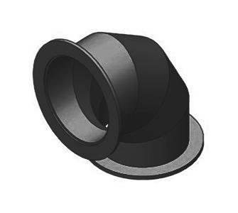 Отвод 90 круглый с фланцевым соединением из полиэтилена, диаметр 225