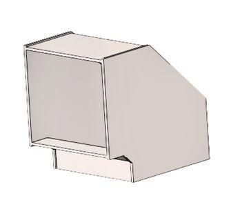 Отвод 90 прямоугольный без соединения из полипропилена, размер сечения 300х300