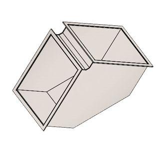 Отвод 90 прямоугольный  с фланцевым соединением из полипропилена, размер сечения 300х300