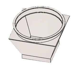 Переход с круг. на прям. без соединения из полипропилена, диаметр 1000