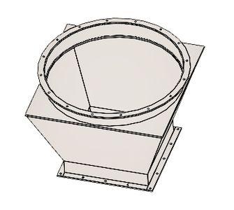 Переход с круг. на прям. с фланцевым соединением из полипропилена, диаметр 630