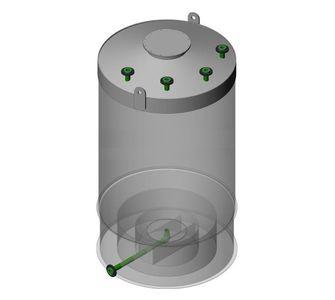 Емкость цилиндрическая из полипропилена, конусное дно конусная крыша, под плотность среды не более 1200 кг/м3:, объем 25