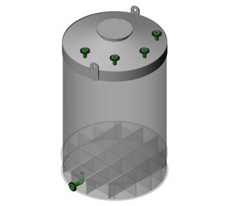 Емкость цилиндрическая из полипропилена, наклонное дно конусная крыша, под плотность среды не более 1200 кг/м3:, объем 25