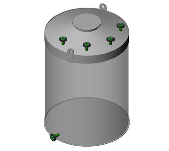 Емкость цилиндрическая из полипропилена, плоское дно конусная крыша, под плотность среды не более 1000 кг/м3:, объем 3,2