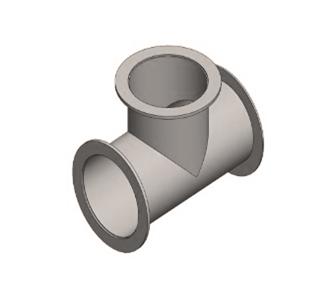Тройник 90 круглый с фланцевым соединением из полипропилена, диаметр 280