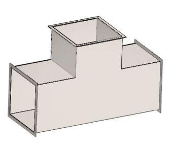 Тройник 90 прямоугольный с фланцевым соединением из полипропилена, размер сечения 200х150