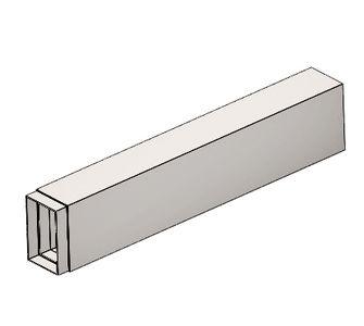 Воздуховод прямоугольный с ниппелем из полипропилена, размер сечения 125х100