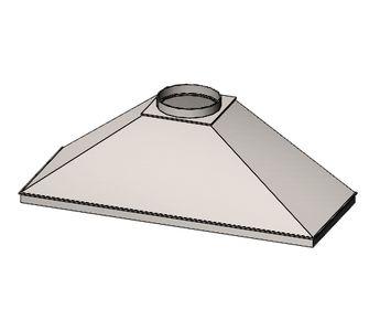 Зонт вытяжной прямоугольный без соединения из полипропилена, размер сечения 300х250